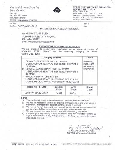 Nezone Bokaro Steel Plant Registration Certificate