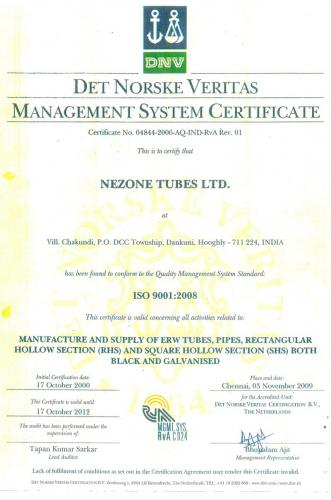 Nezone ISO Certificate of Nezone Tubes Limited