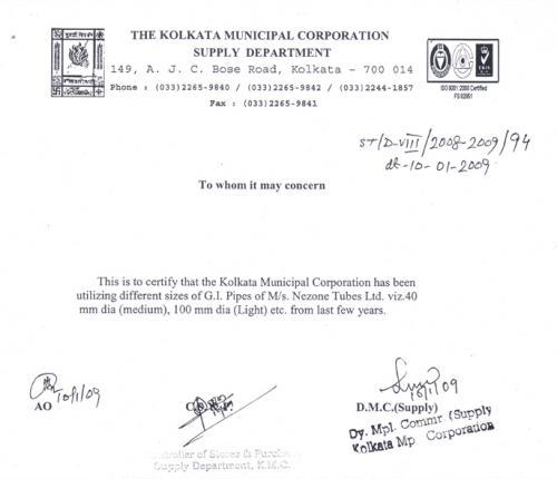 Nezone Performance Certificate of Kolkata Municipal Corporation