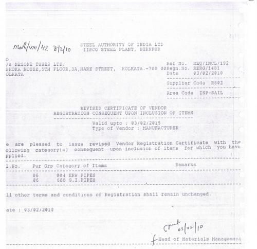 Nezone ISCO Steel Plant Registration Certificate