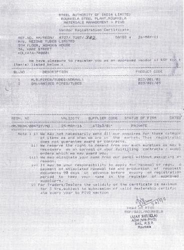 Nezone Rourkela Steel Plant Registration Certificate